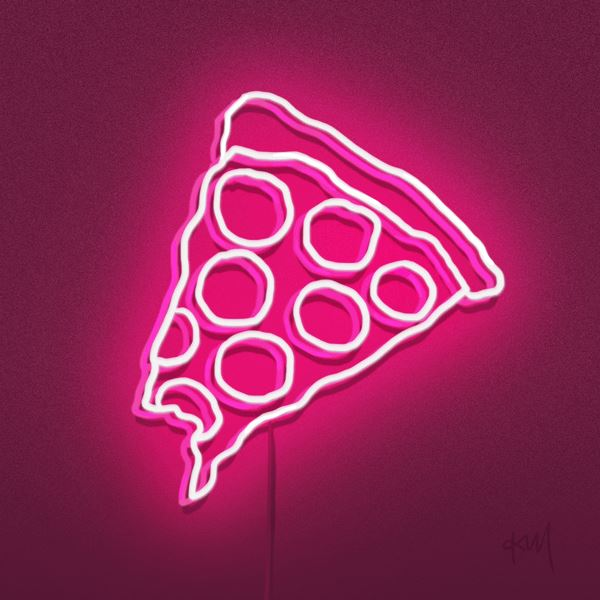 pink neon pizza sign