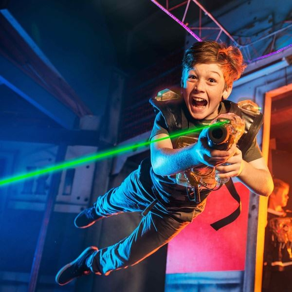 Kid playing at Laser X