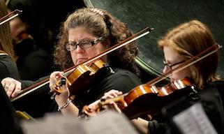 Musicians play violins in symphony orchestra