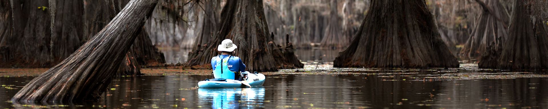 Kayaker on Caddo Lake